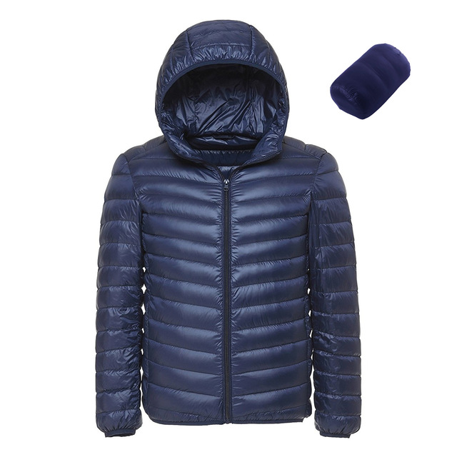 Spring and Autumn Fashion Boutique White Duck Down Solid Color Lightweight Mens Casual Hooded Down Jacket Male Down Jacket