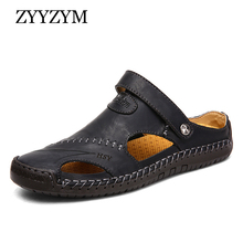 ZYYZYM Men Sandals Summer Genuine Leather Slipper Plus Size 38-48 Outdoor Beach Shoes Rubber Sole Sport