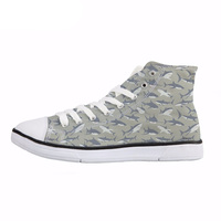 NOISYDESIGNS Cute Shark/Dolphin Print Men High Top   Vulcanize     Shoes   Spring Breathable Classic Canvas   Shoes   Male Student Sneakers