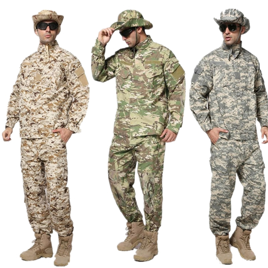 Military Uniform Army Men Tactical ACU CP Camouflage Combat Shirt Pants Special Forces Soldier Uniforms for Man's Clothes Set