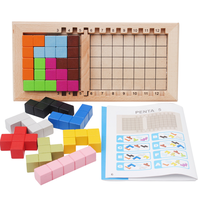 Wooden Tetris Puzzle Tangram Jigsaw Brain Teasers Toy Building Game Colorful Wood Puzzles Box Intelligence Educational