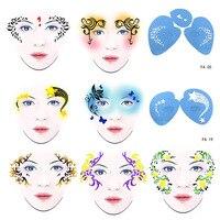 7 יח'\סט לשימוש חוזר רך צבע פנים פרח פרפר DIY סטנסיל תבנית ציור עיצוב פנים איפור ליל כל הקדושים חג המולד