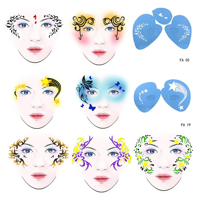 7pcs set reusable soft face paint stencil flower butterfly diy