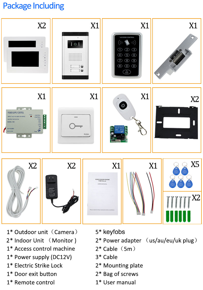 Aliexpress Buy 7 wired video door phone kit set with IR – Keys Can Access Control Wiring Diagram