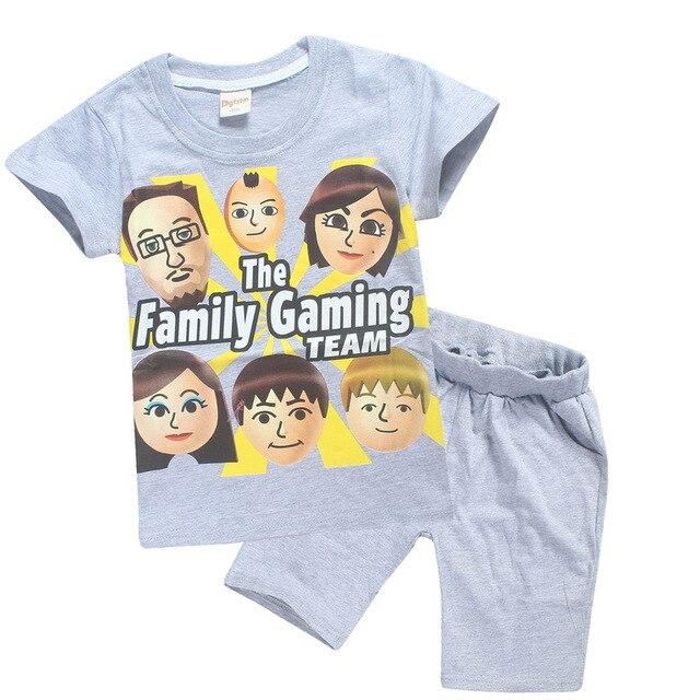 dd70739e89aa 4-12y 2018 Summer ROBLOX Cotton Children Clothing Sets FGTeeV Faces Baby  Girls Kids Boys T Shirts + Shorts Fgtv Sport Suit