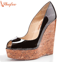 Women Brown Black Pleather Peep Toe High Heels Wedge Pumps Shoes For Woman Zapatos Mujer Tacon