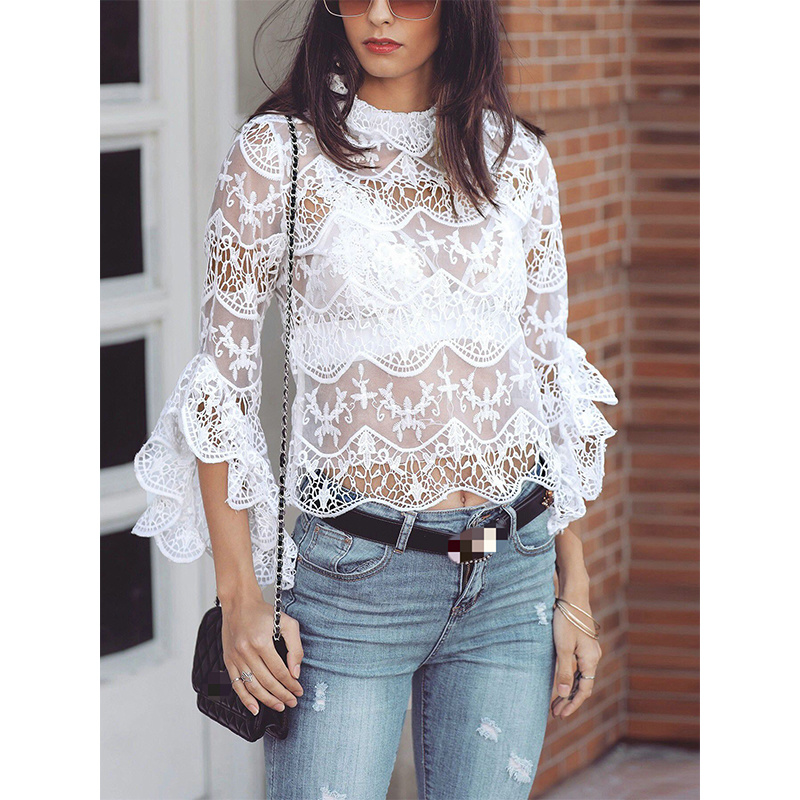 2019 New Women Blouses Openwork Perspective Lace Trumpet Sleeves Tops Women See Through Top Women Sexy Shirt Long Sleeve O neck in Blouses amp Shirts from Women 39 s Clothing