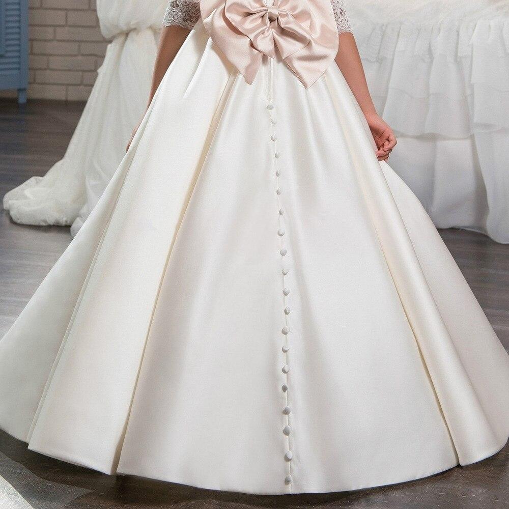 3ef3d4b56e48c Ivoire Satin nouvelle perle arc fille enfants vêtements robe vestido de  primera première communion robe dentelle fleur fille robes pour mariage  dans Robes ...