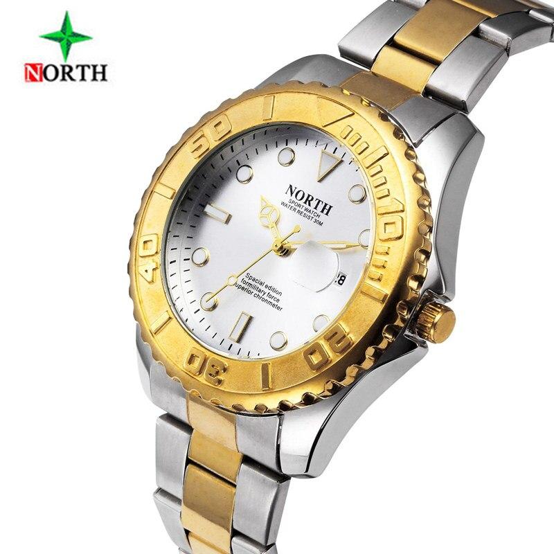 купить New NORTH Men's Watch Mens Watches Top Brand Luxury Wrist Watch Men Watch Full Steel Auto Date Clock kol saati relogio masculino по цене 990.58 рублей