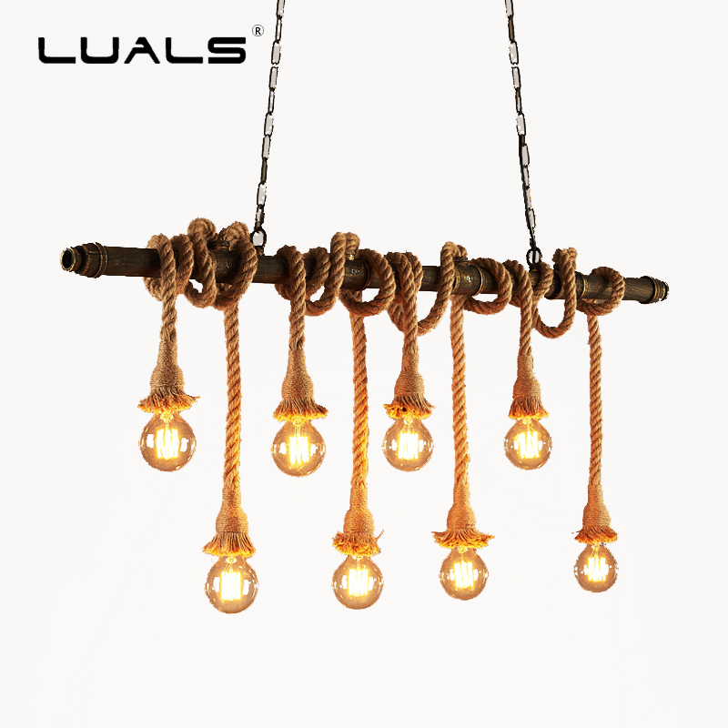 LUALS Loft Style Pendant Lamp Creative Edison Bulb Light Fixture Metal Pipe Hanging Light Bulb For Cafe Bar Personality Lighting 2 pcs loft retro light rusty color hanging lamp cafe bar pendant lights creative edison lamps industrial style pendant lighting
