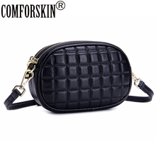 COMFORSKIN Luxurious Womens Leather Clutch Bag New Arrivals Ladies Messenger Fashion Cross-body Bags Double Zipper Handbags
