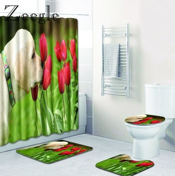 Zeegle Funny Animal Pattern Anti Slip Bathroom Mat Set with Large Shower Curtain Floor Bath Mats Washable Bathroom Toilet Rugs