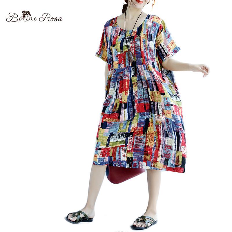 BelineRosa 2017 Summer Beach Dress Fashion Plus Size Women Colorful Hit Color Printing Cotton Linen Dresses for Women TYW00460