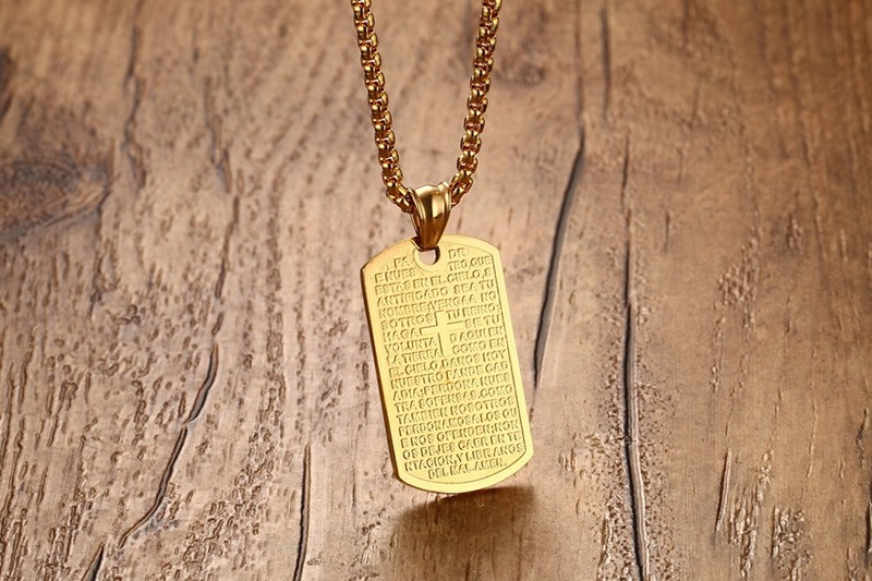 Dog Tag Cross Pendant Jesus Necklace Women Men Jewelry Gold Color