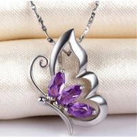 Butterfly Amethyst pendant Free shipping Necklace pendant Natural amethyst pendants 925 sterling silver Gem Size 3pcs 3*6MM