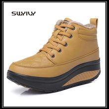 SWYIVY/женские тонированные короткие зимние ботинки; зимние теплые бархатные кроссовки; Новинка года; Водонепроницаемая женская обувь на толстой подошве для похудения