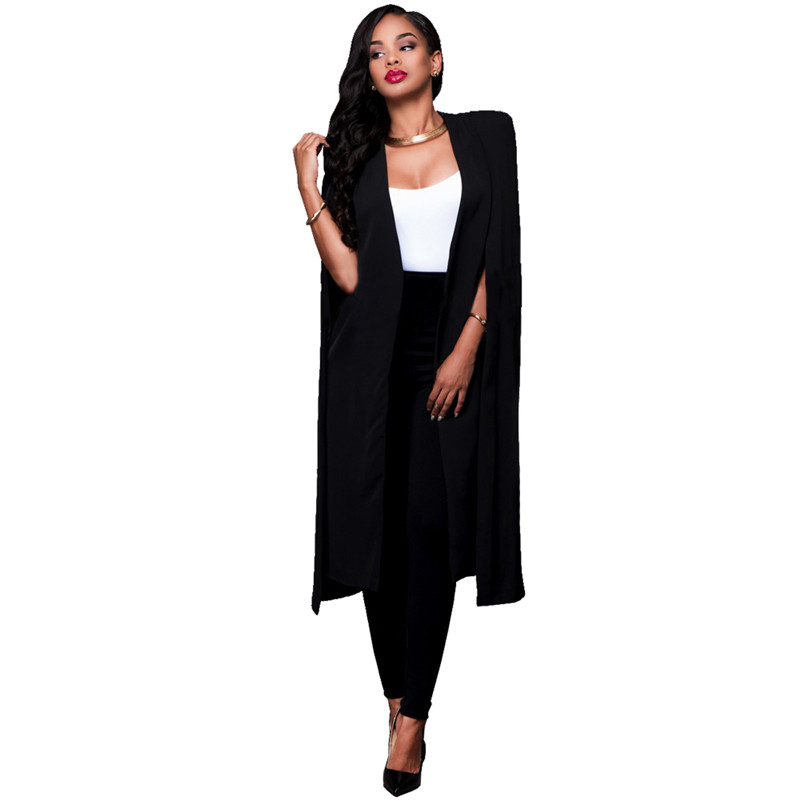New Arrival 2017 Long Trench Coat For Women Open Front Split Sleeve Blazer Suit Women's Autumn Casual Cloak Poncho Coats Black
