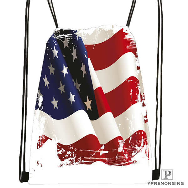 Custom Eagle-with-american-flag  DrawstringBackpackBagforManWomanCute Daypack Kids Satchel (Black Back) 31x40cm#20180611-03-137