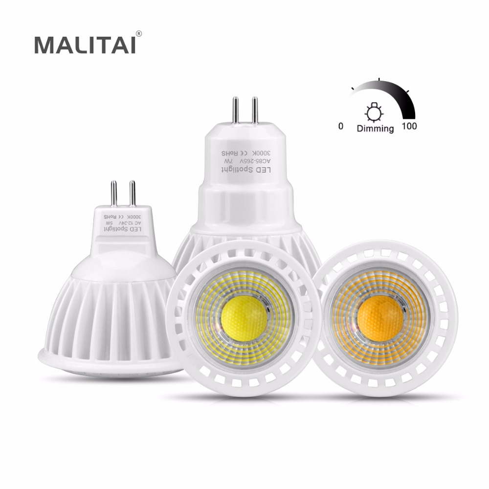 MR16 LED 12V AC/DC 12V Spot light Bulb GU 5.3 MR16 Dimmable lamp GU5.3 COB 110V 220V 3W 5W 7W Spotlight AC 85V- 265V Aluminum mr16 3w rgb multicolored ir remote control light bulb 12v