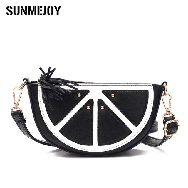 Sunmejoy сумка женская мода личность круглый кожа арбуз сумка карман lemon мультфильм crossbody сумки 2017