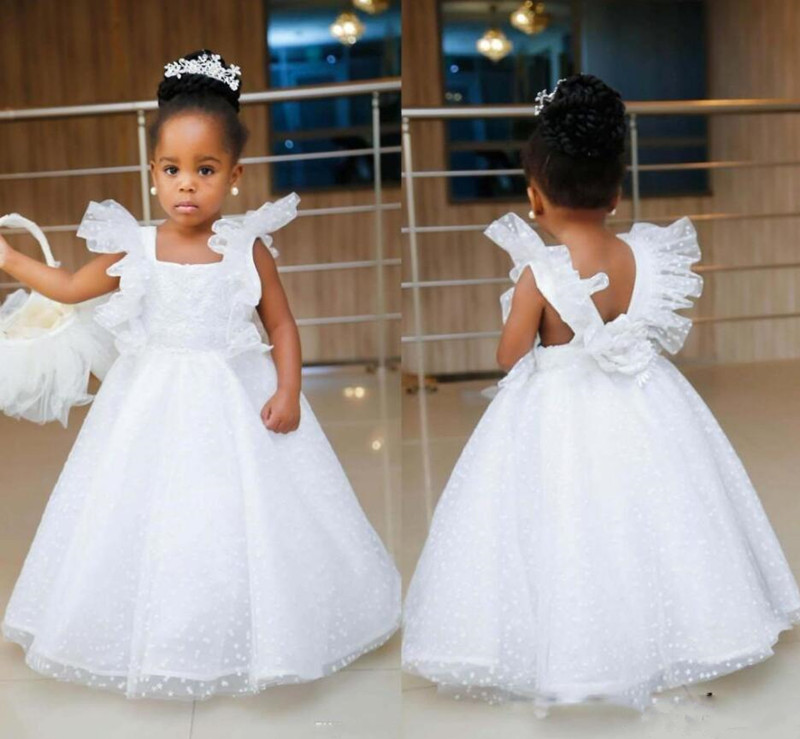 White Tulle   Flower     Girl     Dress   For Special Occasion Square Collar Cap Sleeves Backless Csutom Made   Girls   Pageant Gowns Vestidos