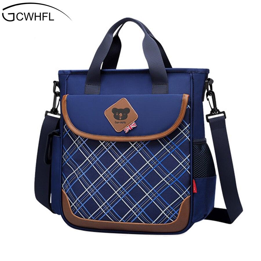 Cute Fashion Plaid School Bags For Girls Waterproof Schoolbag Student Kids Boys Bookbag Children Crossbody Messenger