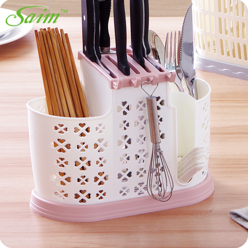 Saim Plastic Chopsticks Cage Drain Knife Rack Household Tool Holder Stand For Knives Kitchen Spoon Storage Rack A-021