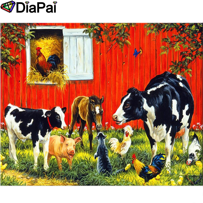 DIAPAI Diamond Painting 5D DIY 100 Full Square Round Drill quot Animal friend farm quot Diamond Embroidery Cross Stitch 3D Decor A22005 in Diamond Painting Cross Stitch from Home amp Garden