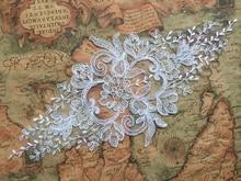 2Pieces 31.5X14.5cm Bridal Lace Applique Veil Trim Embroidery Wedding Motif