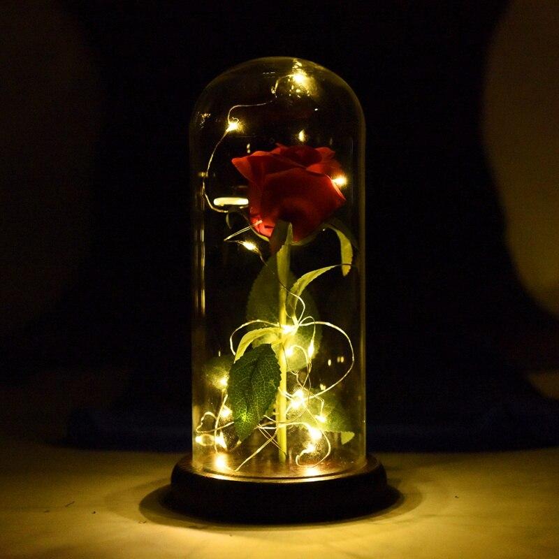 LED rosa de la belleza bestia rosa roja encantada de rosa de seda que dura para siempre con LED hadas cadena luces mejor regalo para día de la madre