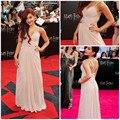 Ariana Grande vestido rosa Celebrity noche de baile Formal desfile vestido con cuentas gasa Spaghetti Straps cariño Backless