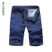 IN-YESON Brand Casual Summer Jeans Shorts Cotton Breathable Stretch Blue Jeans Knee Length Fashion Denim Shorts