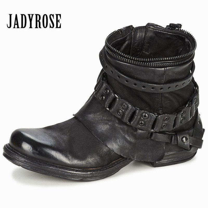 JADY ROSE Fashion Black Purple Women Genuine Leather Ankle Boots Chain Decor Punk Style Motorcycle Booties Flat Botas Militares