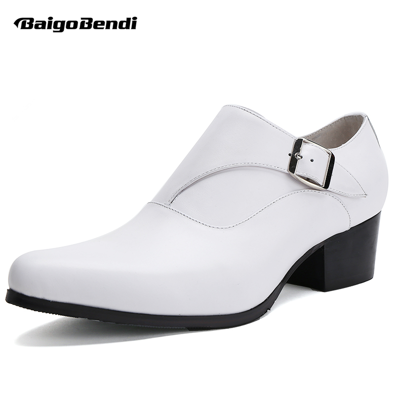 Men White High Heel Shoes Genuine Leather Thick Heel Height Increasing Party Shoes Man Formal Dress Wedding Shoes Heighten hight end full grain leather men lace up high heel shoes man thick heel black formal dress height increasing heighten shoes