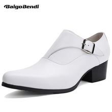 Men White High Heel Shoes Genuine Leather Thick Height Increasing Party Man Formal Dress Wedding Heighten