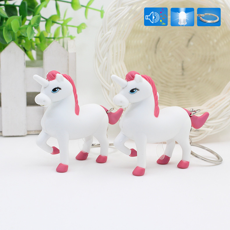 New arrive the unicorn LED Keyring with sound,Children Toys Christmas gift,lovely cartoon animal Led keychain,bag car pendant 1#