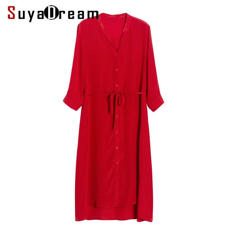 Femmes robe rouge 100% réel soie crêpe col en V ceinturé robes pour femmes 2019 été demi manches bureau dame robe