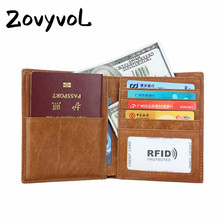 ZOVYVOL 2019 ravel Fashion Women Men Passport Cover Genuine Leather TWallet Documents ID Credit Card Holder