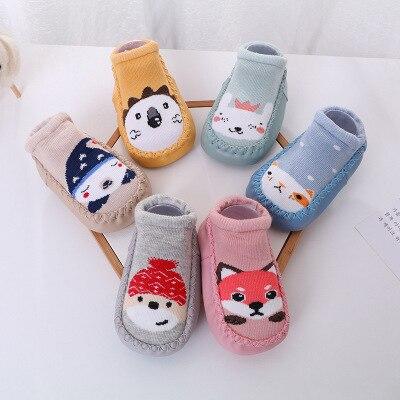 Baby Cute Cartoon Animal Fox Rabbit Socks Shoes Soft Sole Non-Slip Thick Towel Indoor Floor Socks For Baby Winter Warm