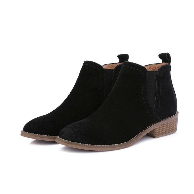 ФОТО  sexy zapatos muje  ankle boots ladies woman shoes Square heel woman party Round Toe Full Grain Leather