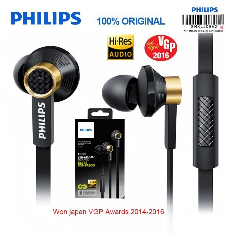 New Philips Tx2 HiRes HIFI earphone high resolution fever earbuds ear noise canceling sport headset for