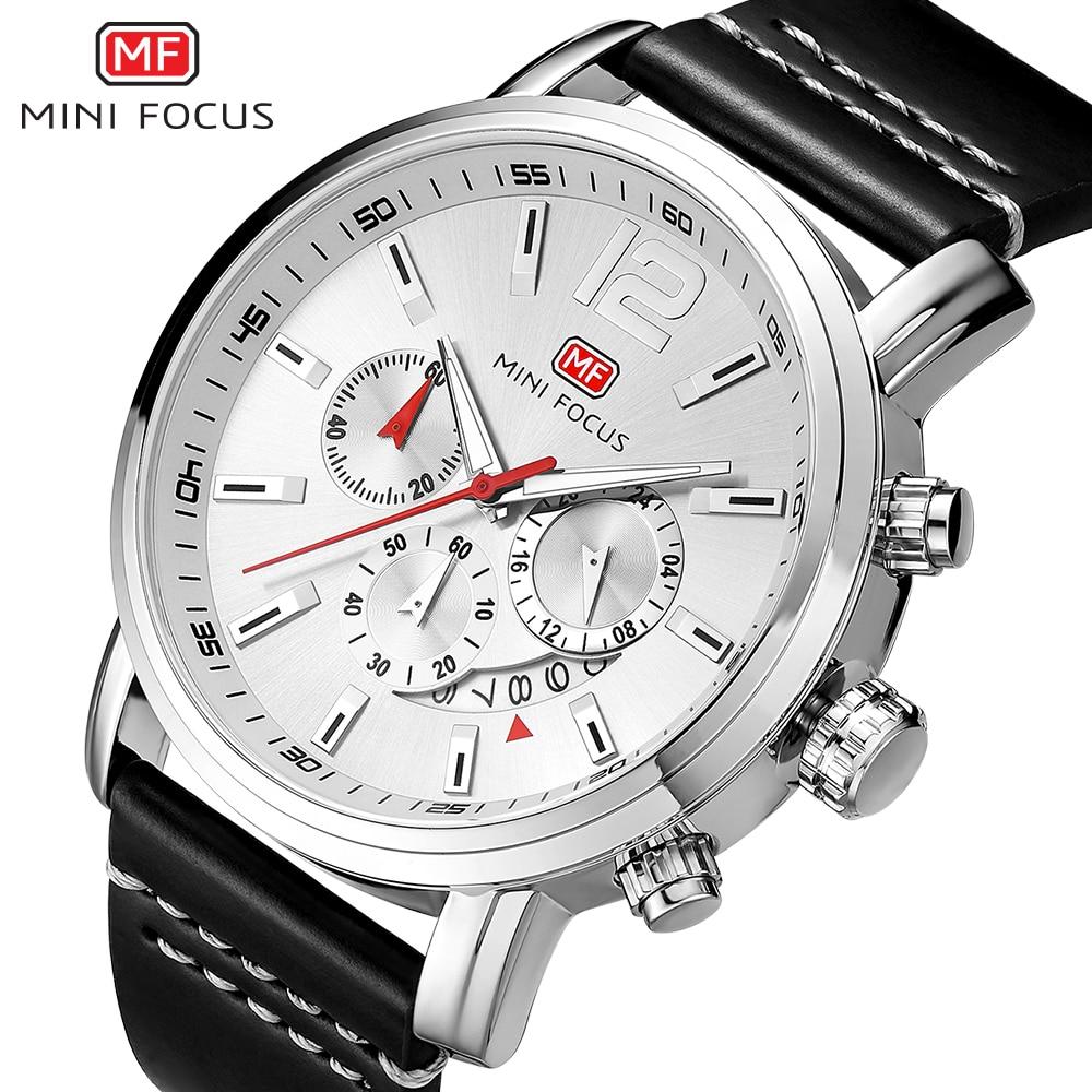 MINI FOCUS Luxury Brand Men's Analog Quartz 24 Hour Date Watches Man 3ATM Waterproof Clock Men Sport Leather Band Wrist Watch
