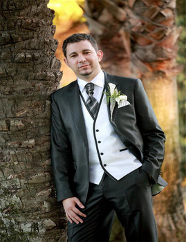Black Top Selling Men's Suit,Custom Made Party Suit Formal Suit Groomsman Suit Boy's Suit (Jacket+Pants+Tie+Vest) Groom Tuxedos