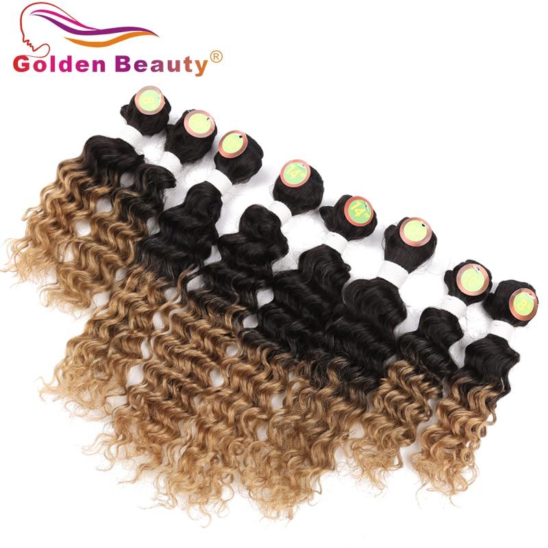 8-14 tums Ombre Deep Wave Hair Bundles 8st / Lot Värmebeständigt - Syntetiskt hår - Foto 2