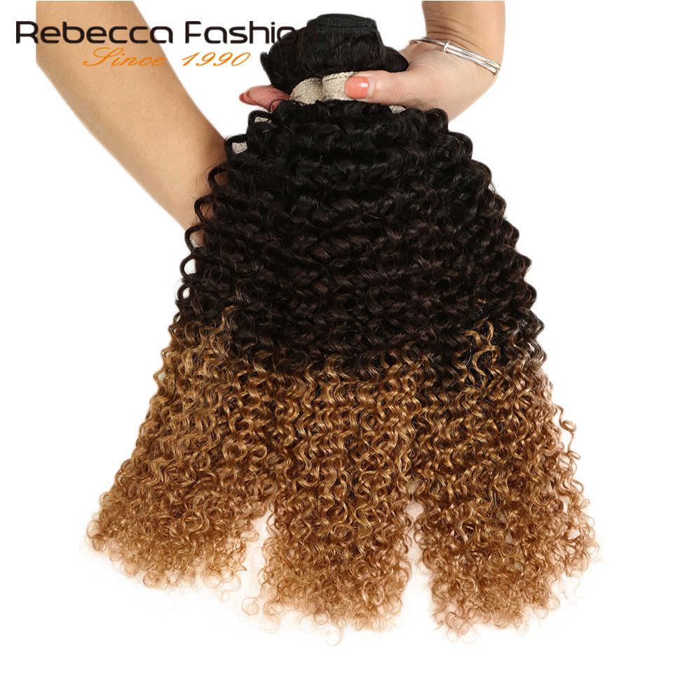 Ребекка 3/4 шт. эффектом деграде (переход от темного к перуанские вьющиеся волосы пучки волос Remy три тона человеческие волосы пучки волос предложения Цвет 1B/4/27 #1B/4/30 #