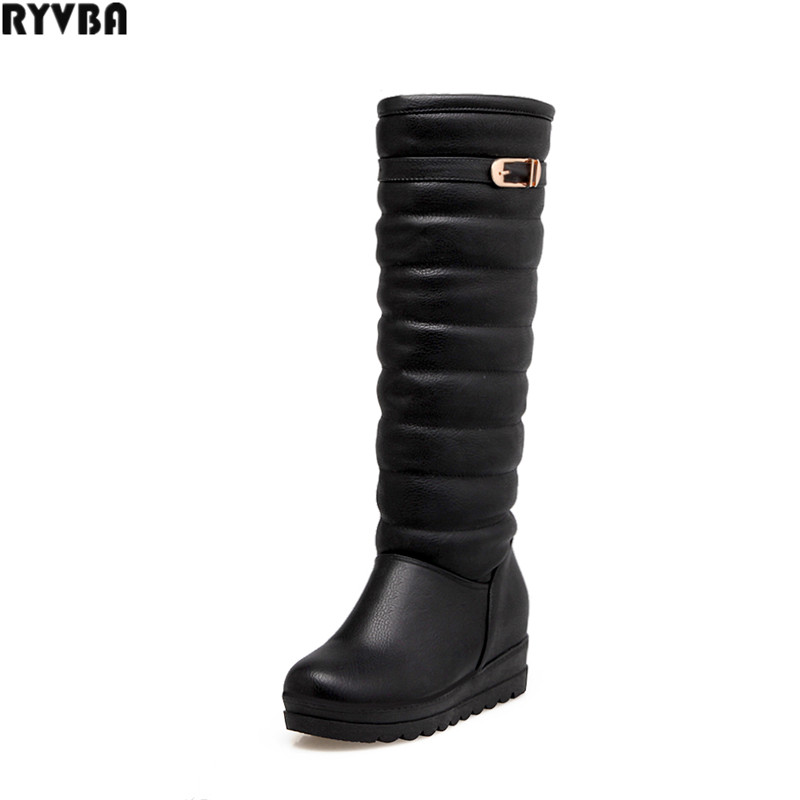 RYVBA woman knee high snow boots fashion thick plush warm thigh high boots winter women shoes womens female buckle flats