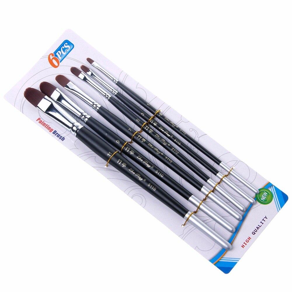 6Pcs Artist Nylon Hair Acrylic Painting Brush Set Watercolor Oil Drawing Tool