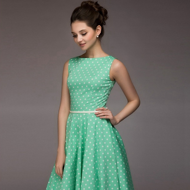 Women Polka Dot Slash Neck  Dress