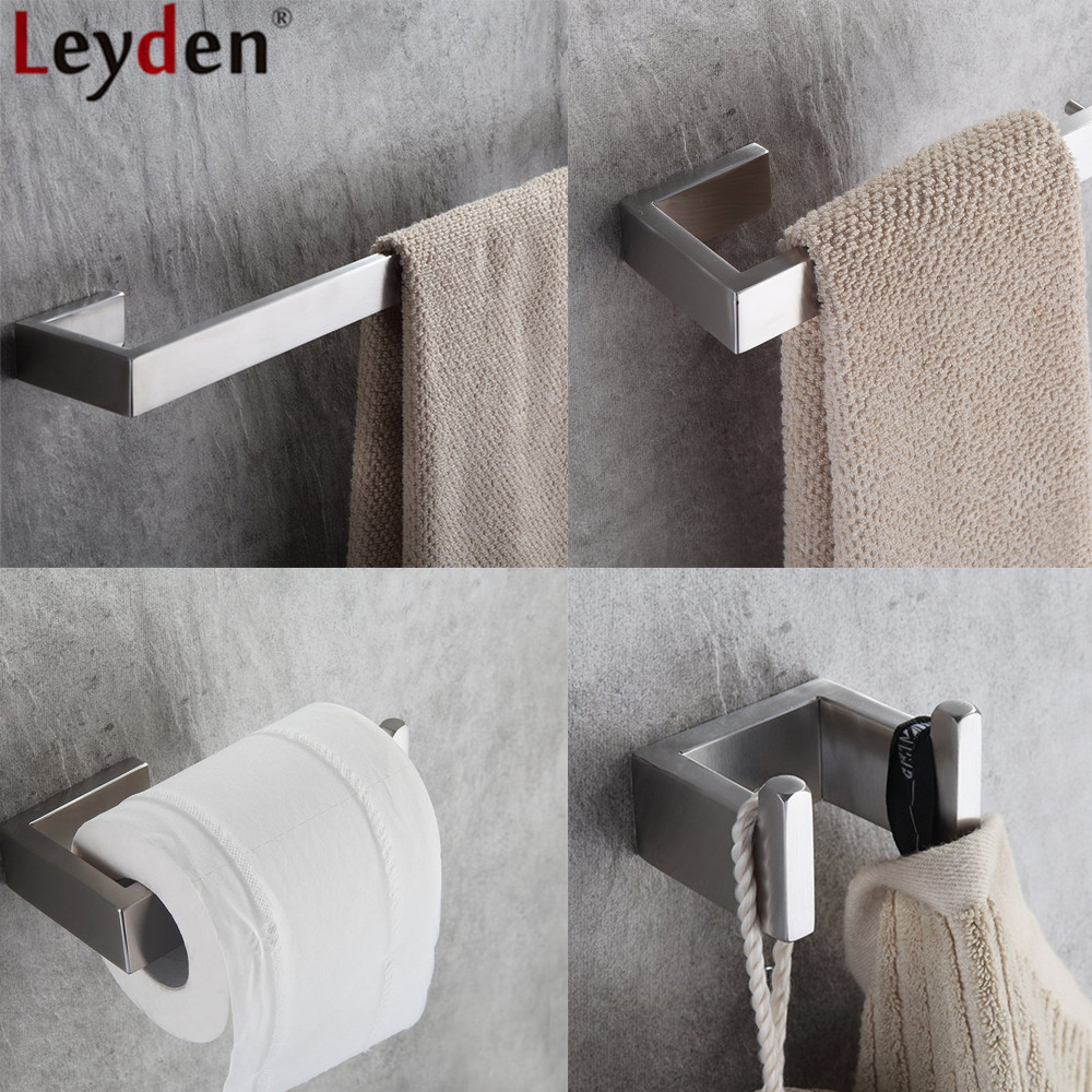 Leyden Brushed 304 Stainless Steel 4pcs Bathroom Accessories Set Single Towel Bar Towel Ring Toilet Paper Holder Robe Hooks high quality bathroom accessories stainless steel black finish towel ring holder