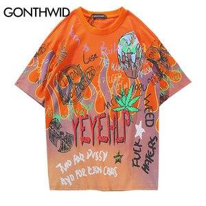Image 1 - GONTHWID граффити огненное пламя уличная футболка 2019 мужские хип хоп повседневные футболки с коротким рукавом мужские Harajuku модные футболки